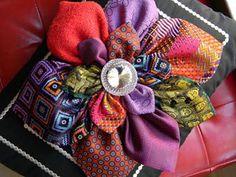 Old necktie flower