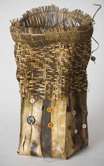 "Judy Zugish | ""GRANDMOTHERS BUTTONS MADE ME DANCE""  Willow barks, buttons, roots"