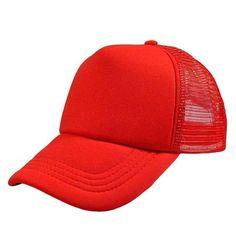fb5c1bf70a7 HOT DIY Plain Color Blank Hand Drawing Adjustable Baseball Caps Solid  Trucker Mesh Blank Curved Visor