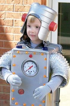 Robot costume made from plastic container, halloween lights, dryer venting, bleach bottle and solo cups (for helmet)