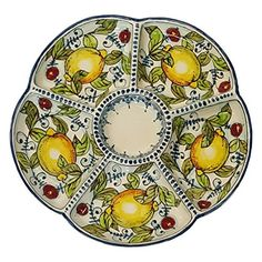 Traditional CERAMICHE D'ARTE PARRINI - Italian Ceramic Appetizer Tray Plate Pottery Lemons Hand Painted Made in ITALY Tuscan, ,