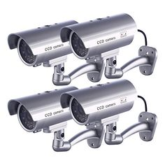 IDAODAN Dummy Security Camera Fake Cameras CCTV Surveillance System with Realistic Simulated LEDs for Home Security  Warning Sticker OutdoorIndoor Use Pack of 4 *** Read more  at the image link.Note:It is affiliate link to Amazon.