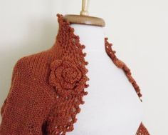 Brown Bridal Shrug With Flower Brooch  Ready for by knittingshop