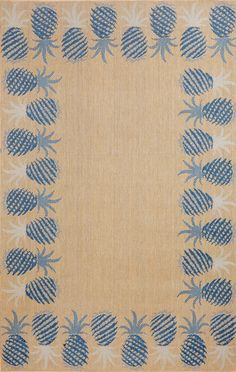 Siesta Pineapple Border Blue 485303 Rug from the Outdoor Rugs collection at Modern Area Rugs. Outdoor rugs are good for kitchen