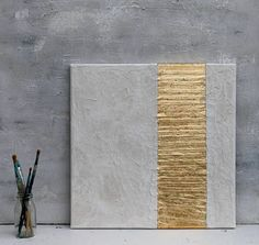 Gold leaf white Abstract painting office decor mixed media gold leaf wall decor art golden Art contemporary wall art Here More. Diy Wall Art, Wall Art Decor, Art Feuille D'or, Structure Paint, Paper Structure, Bild Gold, Gold Leaf Art, Gold Art, Texture Images