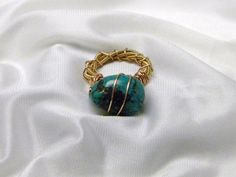 Recycled Guitar String Ring with Turquoise by CreationsbyDreamLady