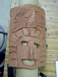 Principles of Heart: Back to Work with Mayan Masks Mayan Mask, Aztec Clay, Mayan History, Ceramic Mask, Mexico Art, Aztec Art, Inca, Art Lessons Elementary, Back To Work