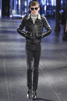 Saint laurent men's rtw fall 2015 men fashion & stylish look Mode Masculine, Men's Leather Jacket, Leather Jackets, Simple Street Style, Outfit Man, Rock Style Men, Look Rockabilly, Look 2015, Indie