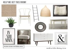 Postbox Designs Boho Dining Room Mood Board for Remodelaholic, boho chic, modern design, interior design, interior decor, e-design, west elm, target