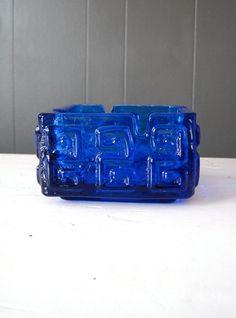 Riihimäen Lasi Blue Glass Ashtray Riihimäki by DoceVikaVintage