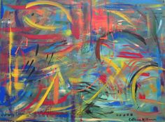 """Abstract Original Acrylic Painting, """"Alive With Energy"""" in blue, green, yellow, orange, red"""