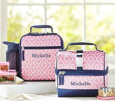 Mackenzie Pink Moroccan Geo Lunch Bags #pbkids