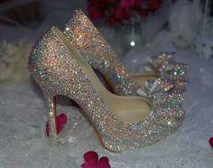 Rhinestone bow heels #heels @Jenniferw