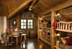 "Rustic and precious bunkroom built in the narrow roof lines of this log home.  Such a great spot for kids (and big kids!) at the vacation home.  Or as I like to say ""small space, big impact"" spot!"