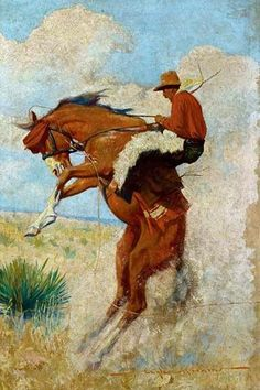 Oil painting of cowboy on bucking horse for a western pulp magazine cover.                                                                                                                                                     More