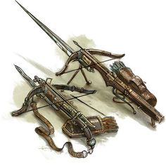 The smaller of the two is kind of how I imagine Elle's Gnomish Bladed Crossbow to look. Steampunk Weapons, Medieval Weapons, Hand Crossbow, Weapon Concept Art, Weapons Guns, Fantasy Weapons, Cool Guns, Medieval Fantasy, Archetypes