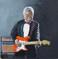 Roy Soerioroseno Gitarist van The Red Strats olieverf op doek
