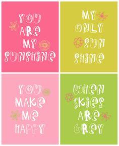 You Are My Sunshine Prints - Free downloads on { lilluna.com }