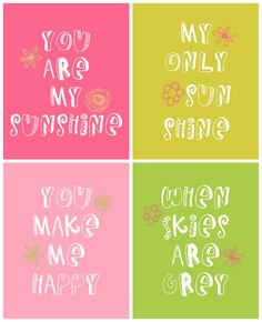 You Are My Sunshine Prints - Free downloads on { lilluna.com }