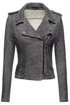 Double Breasted Moto 2Tone French Terry Knit Jackets, 039 - Black, Large ** Details can be found by clicking on the image.