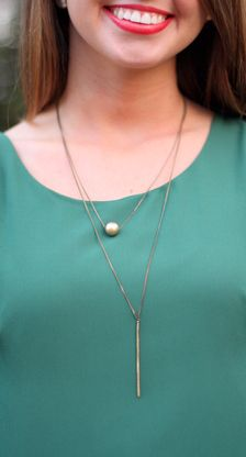 On the Straight & Narrow Necklace -Antique Gold. Pink Tulip Boutique