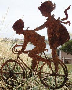 Metal Garden Art Vintage Silhouette- Riding Bike in Garden Stakes | eBay
