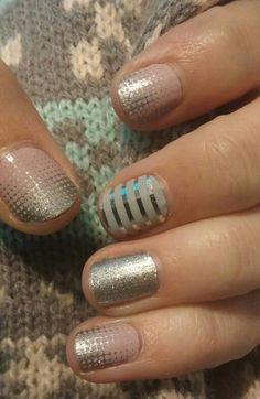 Jamberry nails. Fade in, diamond dust sparkle, and gray & silver horizontal pinstripe. jfletcherfierro.jamberrynails.net