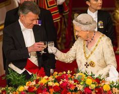 Queen Elizabeth held a state dinner for Colombia's president Juan Manuel Santos and Maria Clemencia Rodriguez