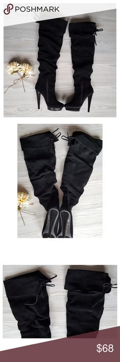 "Baker's Over Knee Thigh Boots Bakers Lila Black Suede Boots Thigh High with side zipper. Size: 5B----Style: 578----Heel: 4.5"" -----Name: Lila----Color: Jet Black----Fabric: Leather Upper Condition: Excellent Like New Bakers Shoes Over the Knee Boots"