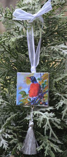 Summer Robin Ornament or Magnet / Bird Ornament by ArtistsHoliday