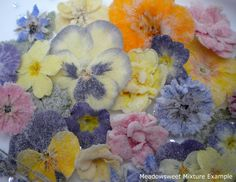 A carefully selected beautiful mix of flowers in various colours, with leaves as available. Cake Kit, Primroses, Buttercream Icing, Edible Flowers, Crystal Flower, Sugar Art, Pansies, Our Wedding, Cake Decorating