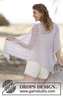 """Knitted DROPS shawl in garter st in """"Alpaca"""" and """"Kid-Silk"""". ~ DROPS Design"""