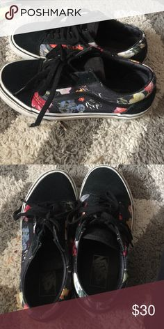 Old Skool Vans Floral print old school vans. Used and fairly dirty, but are in good condition and can easily be cleaned. Price negotiable! Maybe also consider new laces. Vans Shoes Sneakers
