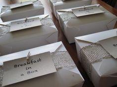 Breakfast in a Box! A very unique wedding favor. : wedding box breakfast diy easy favor gift inspiration reception thank you unique wedding Breakfast Boxes Wedding Favours Luxury, Edible Wedding Favors, Wedding Favor Boxes, Unique Wedding Favors, Unique Weddings, Real Weddings, Party Favors, Wedding Gifts, Wedding Ideas