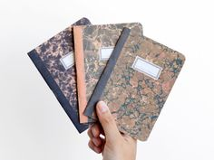 Lot of 3 notebooks  marbled paper  MAR6003 by ARMINHO on Etsy, $14.00