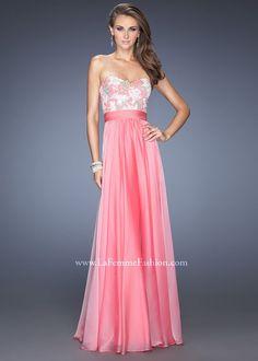 La Femme 20001 Lace Chiffon Gown