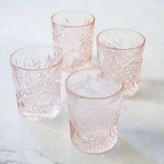 Decorated Hobstar Glassware - Pink   West Elm