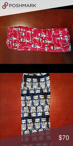 LuLaRoe Halloween leggings mummy's & Frankenstein LuLaRoe Halloween leggings - both OS (this is for BOTH pairs!) red mummy's & blue/black Frankenstein LuLaRoe Pants Leggings