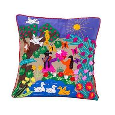 Zoomie Kids Flowers blossom in a feast of colors as the artist celebrates Mother's Day with the design of this Happel Applique Mother's Day Pillow Cover. Fur Throw Pillows, Throw Pillow Sets, Outdoor Throw Pillows, Decorative Throw Pillows, Diy Pillows, Handmade Cushion Covers, Handmade Cushions, Applique Cushions, Embroidered Pillows