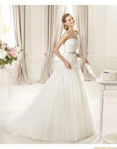 2015 A-linie Aparte Traumhafte Brautkleider aus Softnetz mit Applikation