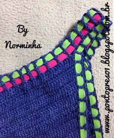 PAP - Resumido : iniciar pelo grafico abaixo ...       Gráfico que adaptei para o tamanho desejado :   Agora vamos fazer a Parte Superi... Crochet Lace Edging, Knit Crochet, Crochet Patterns, Sewing Patterns, Crochet Skirts, Crochet Clothes, Crochet Bikini Top, Crochet Woman, Crochet Accessories