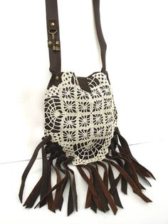 Brown Leather Boho Crossbody Bag with Fringe Vintage Crochet Antique Key - Ready to ship