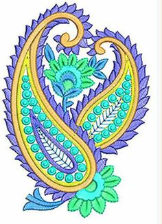 'N Pragtige Paisley Stiksweis Hand Embroidery Flowers, Hand Embroidery Stitches, Embroidery Patches, Embroidery Hoop Art, Hand Embroidery Designs, Embroidery Patterns, Machine Embroidery, Textile Pattern Design, Textile Patterns