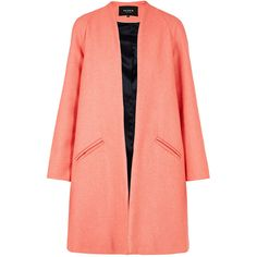 PAPER London Deco Coat ($565) ❤ liked on Polyvore featuring outerwear, coats, jackets, coats & jackets, pink, swing coat, pink coat, long sleeve coat, red swing coat and red collarless coat