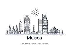 Linear banner of Mexico city. All Mexico buildings - customizable objects with opacity mask, so you can simple change composition and background fill. Line art. Cityscape Drawing, City Tattoo, Skyline Silhouette, Building Illustration, Mexico Art, Typographic Design, Cute Animal Drawings, City Maps, Map Art