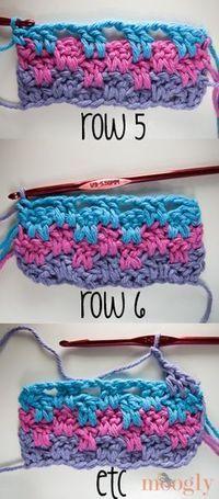 Salto Rayas y Bloques de Manta - patrón de crochet libre en Moogly!