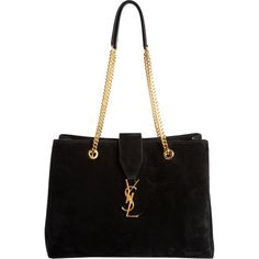 Saint Laurent YSL Monogramme Shopper ($2,490) ❤ liked on Polyvore featuring bags, handbags, tote bags, bolsas, purses, borse, black, hand bags, studded tote bag and suede purse