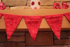 Fabric Banner - Fabric Bunting - Valentine Bunting with Swirls by monkeyandlamb on Etsy