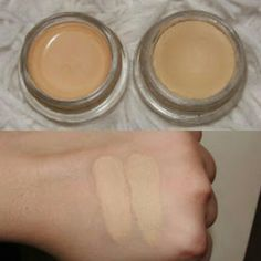 """Dupe swatches!!! Maybelline 24 tattoo eyeshadow in """"Just beige"""" on the right and MAC paint pot in """"Soft Ochre"""" to the left"""