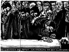 'Memorial for Karl Liebknecht' woodcut print by Kathe Kollwitz.